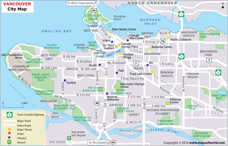 Map Of Vancouver City. Each of these city maps will