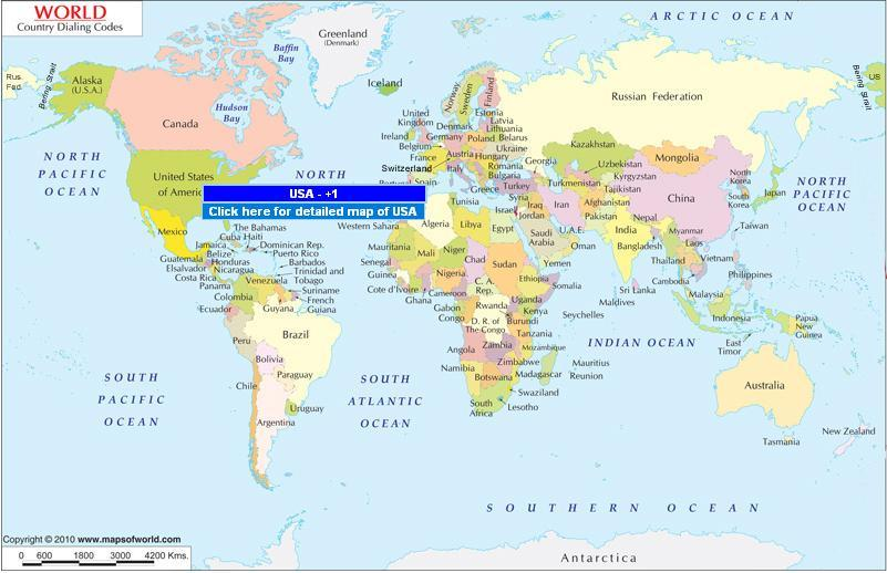 Find the Easiest Way to Know Country Dialing Code | Maps of ... Mapsofworld on