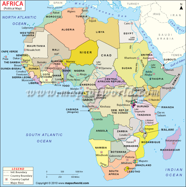 Physical Maps of Africa Maps of World